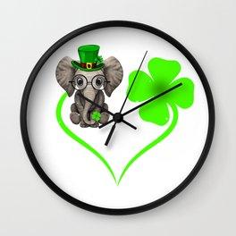 elephant 4 clover Shamrocks Love  St. Patrick's Day Gift Wall Clock