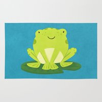 frog Area & Throw Rugs featuring Frog by Claire Lordon