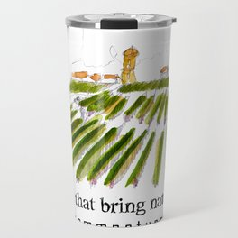 Early morning in the vineyard: a watercolor from the Hâut-Médoc Travel Mug