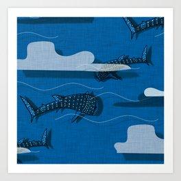 Whale Shark Blue #nautical #whaleshark Art Print