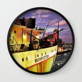 Sunset Freighter Wall Clock