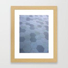 Grey Concrete Hexagons Framed Art Print