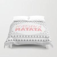 hakuna Duvet Covers featuring Hakuna Matata II by M Studio
