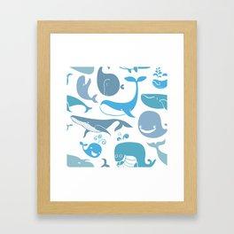 Whales Pattern Framed Art Print