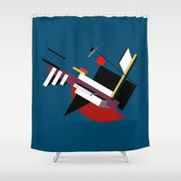 kandinsky Shower Curtains featuring STARSHIP by THE USUAL DESIGNERS