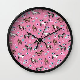 Pink Horse Print, Hand Drawn, Horses and Flowers, Girls Room, Wall Clock