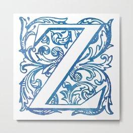 Letter Z Elegant Vintage Floral Letterpress Monogram Metal Print