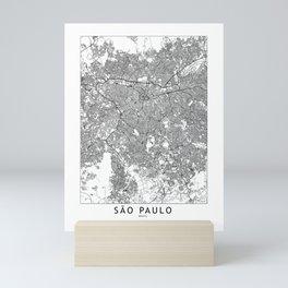 Sao Paulo White Map Mini Art Print