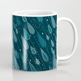Dark Cyan Rain Drops Coffee Mug