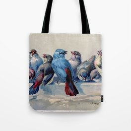 Vintage Blue & Red Winter Songbirds Tote Bag