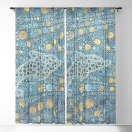 Dot Art Dolphin - Blue gemstone and Gold Sheer Curtain