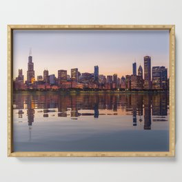 Panorama of the City skyline of Chicago Serving Tray