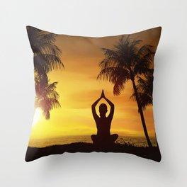 Yoga at the beach on sunrise Throw Pillow