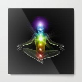 Humanoid in lotus yoga pose with glowing chakras Metal Print