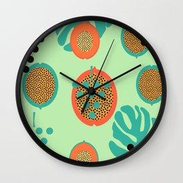 Grapes and tropical fruits Wall Clock