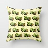 kiwi Throw Pillows featuring Kiwi by Sara Soto
