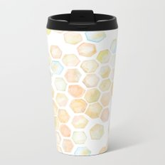 Bee and honeycomb watercolor Metal Travel Mug