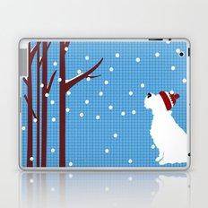Schnauzer Dog in snow, christmas time Laptop & iPad Skin