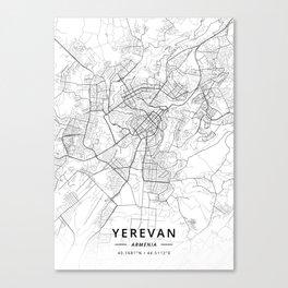 Yerevan, Armenia - Light Map Canvas Print
