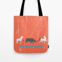 evolution Tote Bags featuring Evolution by Tony Vazquez