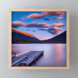 Canada Photography - Dock By The Lake And Beautiful Landscape Framed Mini Art Print