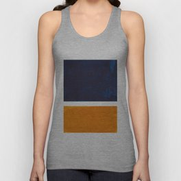 Navy Blue Yellow Ochre Abstract Minimalist Rothko Colorful Mid Century Color Block Pattern Unisex Tank Top