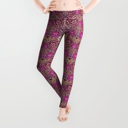 Art Nouveau Floral, Plum, Beige and Deep Purple Leggings