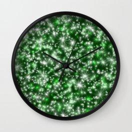 Green Christmas Lights Wall Clock
