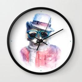 Cute fashion hipster animals pets raccoon Wall Clock