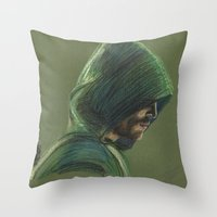 green arrow Throw Pillows featuring Green Arrow by xDontStopMeNow