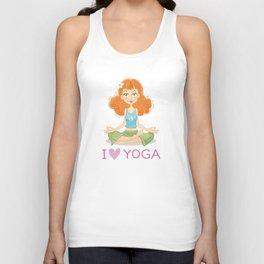 Cute Yoga Girl Sitting in Lotus Pose Unisex Tank Top