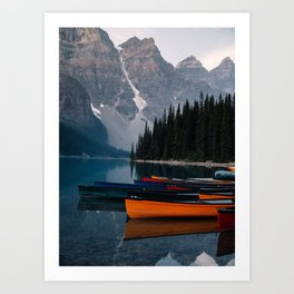 Canoes & Mountains Art Print