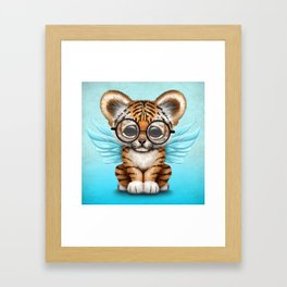 Tiger Cub with Fairy Wings Wearing Glasses on Blue Framed Art Print