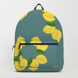 Lemon Pattern Teal Backpack