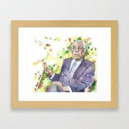 BORGES - watercolor portrait.3 Framed Art Print