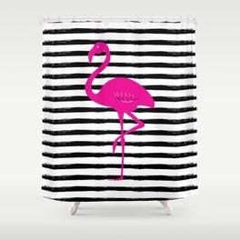 Flamingo & Stripes - Black / Pink Shower Curtain