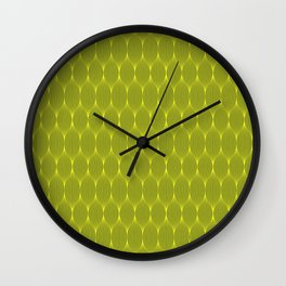 Grey On Yellow Optical Waves Repeat Pattern Wall Clock