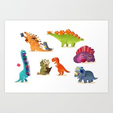 BOOK DINOSAURS Art Print