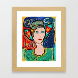 Pop Girl Art Deco with Hat and hearts Framed Art Print