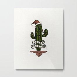 Feliz Navidad Santa Cactus Metal Print