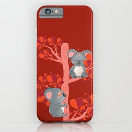 Cartoon couple of koala bears, lovely Valentines day illustration iPhone Case