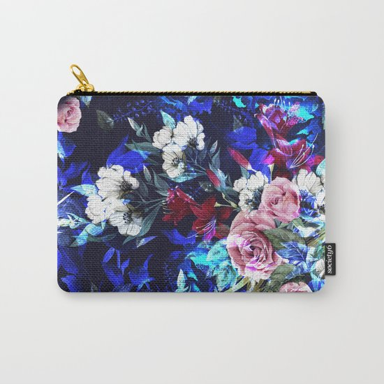 Dark Blue Floral Pattern Carry-All Pouch