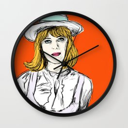 Pauline on Orange Wall Clock