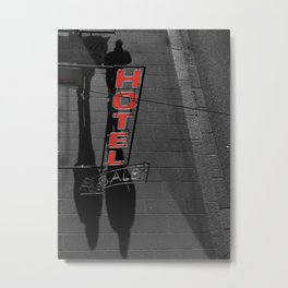 Street Photography Black and White and Red Hotel Italian Metal Print