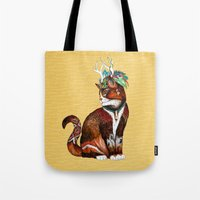 wizard Tote Bags featuring Wizard Cat by Sandra Dieckmann
