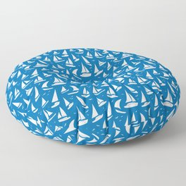 Cool Sailing Boats Pattern on Sea Blue Floor Pillow