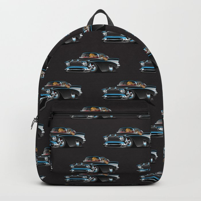 Classic hot rod fifties muscle car with cool couple cartoon Backpack