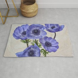 Pretty Periwinkle Poppies Rug