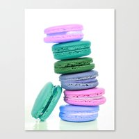 macaroons Canvas Prints featuring Macaroons  Pink Aqua Periwinkle by Whimsy Romance & Fun