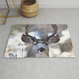 Watercolor Deer, Mule 02, RMNP, On Guard Rug